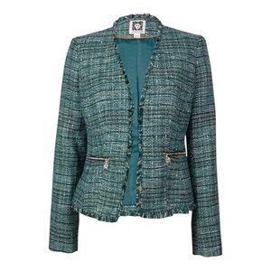 Anne Klein Tweed Green Suit Separate/Blazer